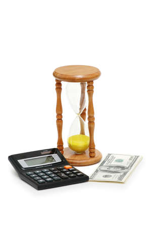 Time is money - calculator, hourglass and dollars Stock Photo - 1159299