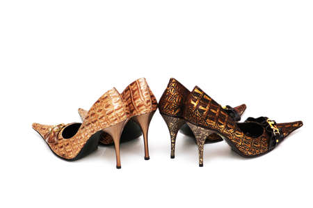 Two pairs of woman of shoes isolated photo