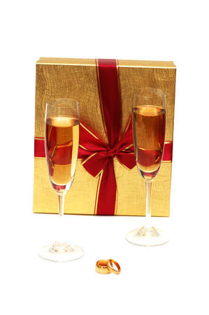 Two wine glasses, box and wedding rings Stock Photo - 1215636