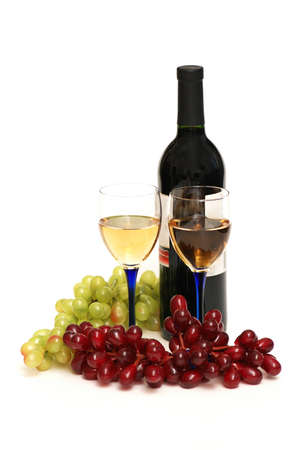 Two glasses of wine, bottle and grapes isolated  on white Stock Photo - 1353989
