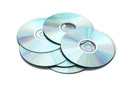 megabytes: Many CDs isolated on the white background