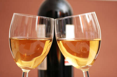 Two wine glasses and a bottle a wine Stock Photo - 1676427