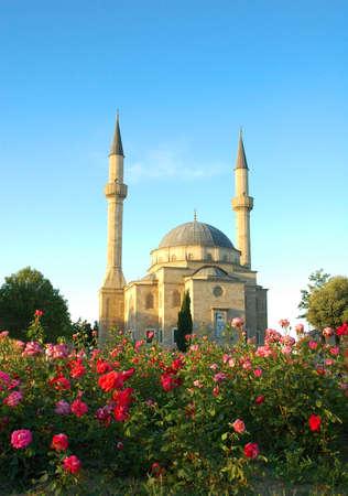 Mosque with two minarets in Baku, Azerbaijan Stock Photo