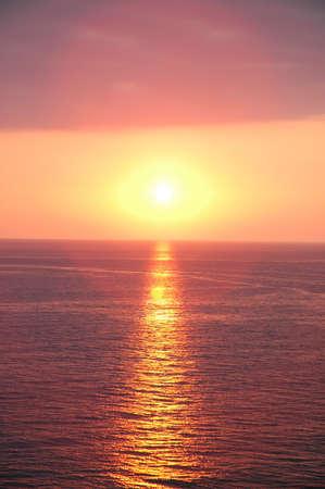 Sunset near Baku at the Caspian  Sea photo