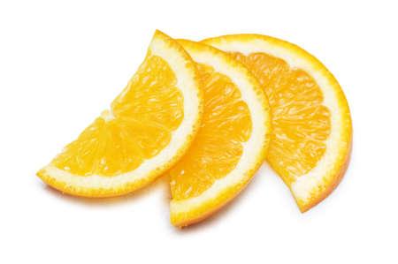 Three orange slices isolated on the white Stock Photo - 1676407