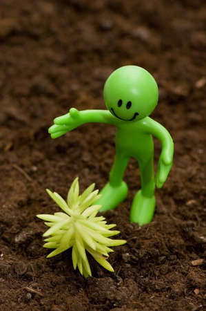 Gardening concept - Smilie looking  after green seedlings Stock Photo - 1676426
