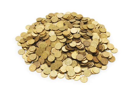 Pile of golden coins isolated on white Stock Photo - 1676435