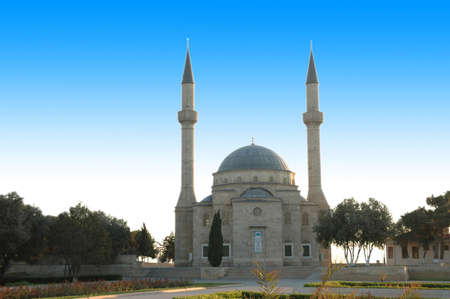 azerbaijan: Mosque with two minarets in Baku, Azerbaijan Stock Photo