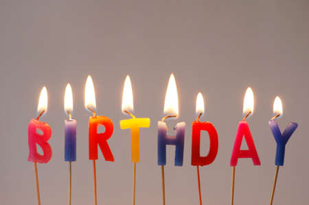 Burning multi coloured candles with Birthday word photo