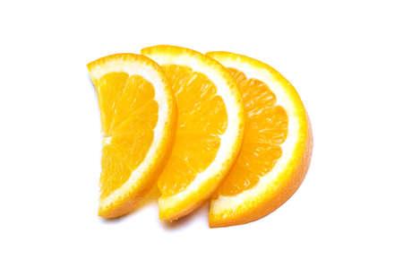 Three orange slices isolated on the white Stock Photo - 1729421