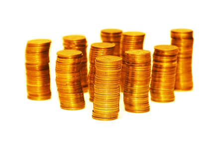 Stacks of gold coins isolated on the white Stock Photo - 1729419