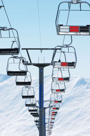 Ski Lift Chairs On Bright Winter Day Stock Photo   1769910