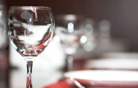 Wine glasses on  the table - shallow depth of field photo