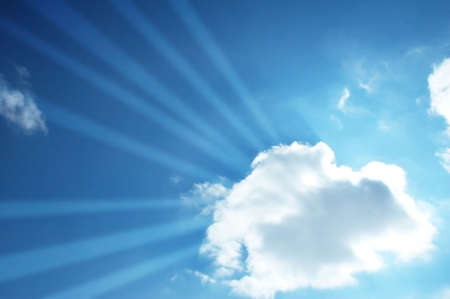 Blue sky and sun beams through the cloud Stock Photo - 1888083