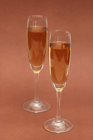 Two wine glasses on the  biege background Stock Photo - 1888109