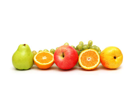 Various fruits isolated on the white background photo