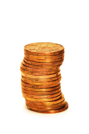 Stack of coins isolated on the white Stock Photo - 1888120