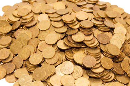 Pile of golden coins isolated on white Stock Photo - 1888168