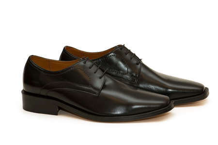 Black male shoes isolated  on the white Stock Photo - 1987148