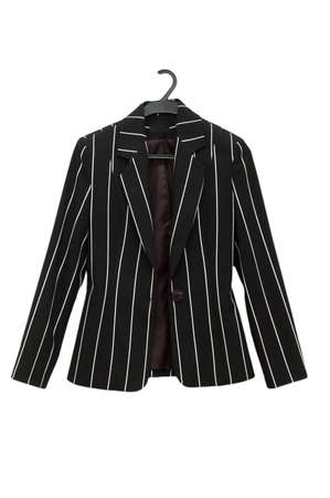 blazer: Striped black jacket isolated on the white Stock Photo