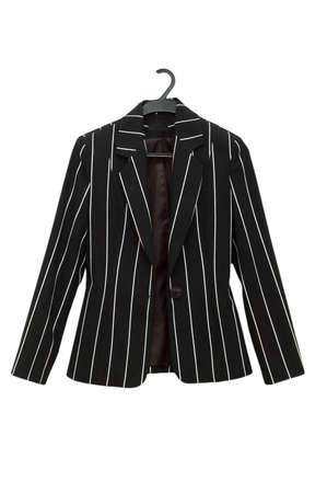 coat rack: Striped black jacket isolated on the white Stock Photo