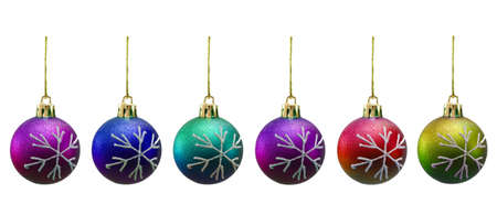 Christmas balls of various colours isolated on white photo