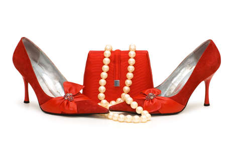 personal accessory: Red shoes, purse and pearl necklace isolated