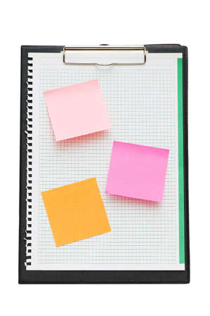 Open binder with post-it notes and blank page Stock Photo - 2105309