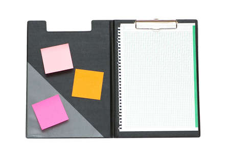 Open binder with post-it notes and blank page Stock Photo - 2105308