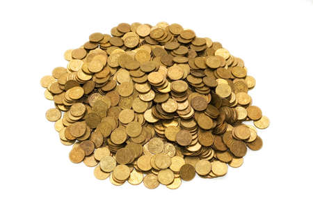 Pile of golden coins isolated on white Stock Photo - 2105326