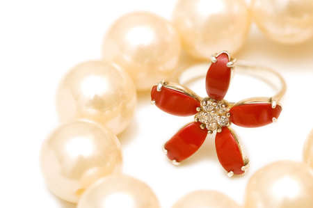 Red ring and pearls isolated on the white background Stock Photo - 2138267