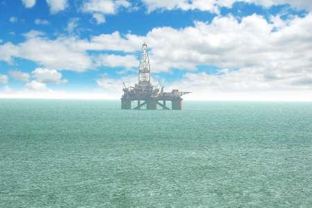 baku: Oil platform offshore Baku on bright cloudy day Stock Photo