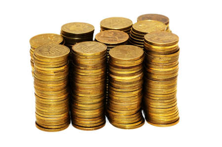 Stack of coins isolated on the white Stock Photo - 2138292