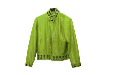 dry suit: Green leather jacket isolated on the white Stock Photo