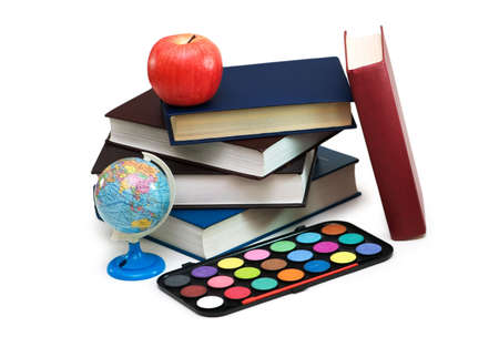 Back to scholl concept with books and school items Stock Photo - 2324216