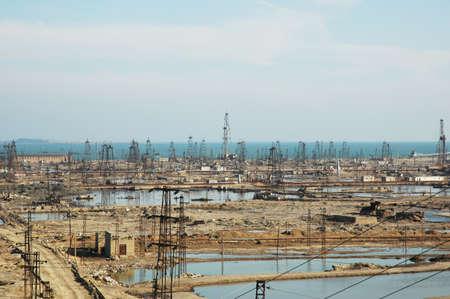 roughneck: Abandoned oil derricks near Baku, Azerbaijan