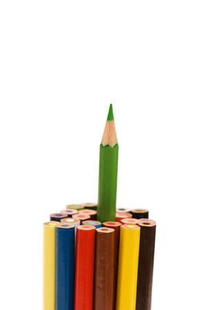 Stand out from the crowd concept with pencils photo