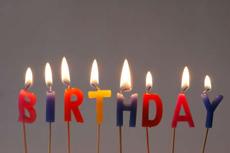 Burning candles with the word Birthday