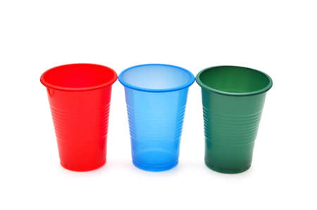 throwaway: Three plastic cups isolated on the white Stock Photo