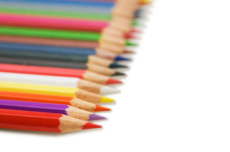 Row of colourful pencils isolated on the white Stock Photo - 2379401
