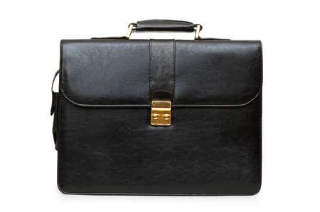 black briefcase: Malet�n negro aislados sobre el fondo blanco Foto de archivo