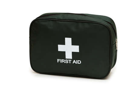 safety first: First aid kit isolated on the white