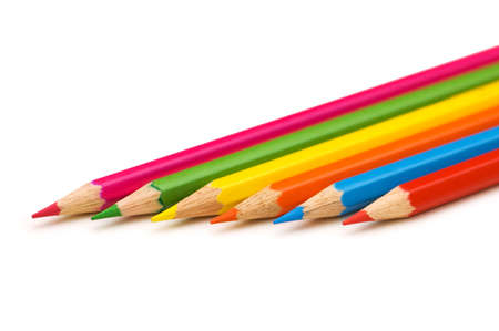 educating: Various pencils isolated on the white background Stock Photo