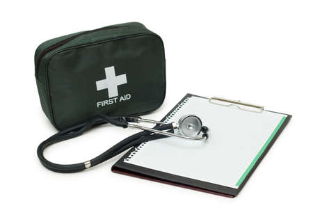 First aid kit, stethoscope and pad isolated on white Stock Photo - 2490272