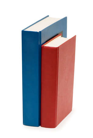 educating: Three colourful books isolated on the white