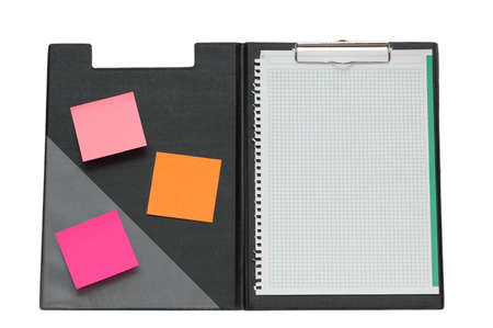 Open binder with post-it notes and blank page Stock Photo - 2528308