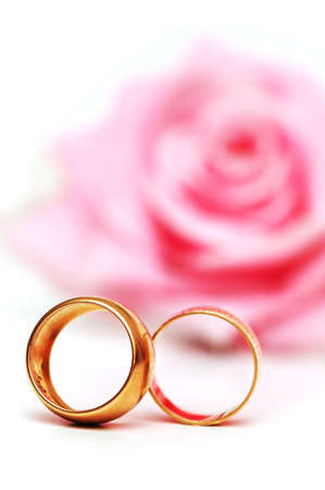 Pink rose and rings isolated on the white background photo
