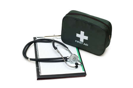 First aid kit, stethoscope and pad isolated on white Stock Photo - 2528283