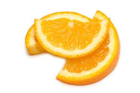 Three orange slices isolated on the white Stock Photo - 2598601