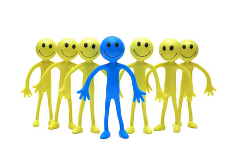 tabassum: Team of smilies isolated on the white Stock Photo
